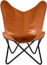 Butterfly Genuine Buff Leather Brown Handmade  Designed  For Living Room Chair
