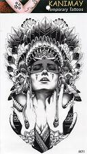 Indianer Frau Temporary Temporäre Klebe Einmal Tattoo Klebetattoo 12 x 20cm AX71