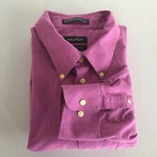 Nautica Mens 17 1/2  32/33 Vintage Oxford Purple Long Sleeve Dress Shirt
