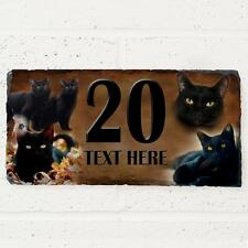 Personalised Black Cat Door House Slate Sign Name Number Plaque