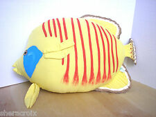 Hand made painted Tropical Butterfly Fish Figural Cotton Pillow Yellow Red Blue