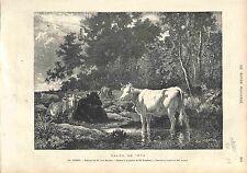 La Foret Émile van Marcke Vache Cow GRAVURE ANTIQUE PRINT 1874