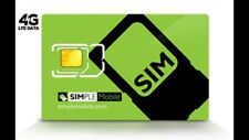Preloaded SIMPLE MOBILE DUAL/ nano SIM CARD $50 unlimited talk, text and 4G data