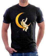 SPACEMAN L'UOMO SULLA LUNA SPAZIO NASA RAZZO FUNNY Nero T-shirt di Cotone 9754