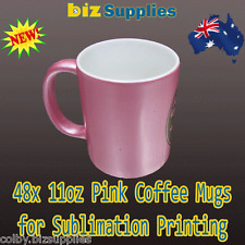12x Pink Dye Sublimation Coffee Mugs with Gift Box - Dishwasher Proof