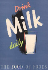 AD30 Vintage Drink Milk Daily Advertisment Advertising Poster A4 Re-print