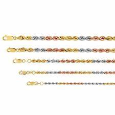 """14k трехцветный золотой веревочной цепи Твист ссылка ожерелье 2.2mm-5mm, мужские, женские, размер 16"""" -26"""""""