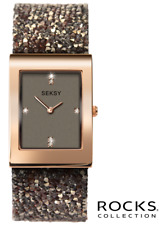 Seksy Rocks 2580 Rose Gold Plated, Brown Swarovski Crystals 2 Year Guarantee
