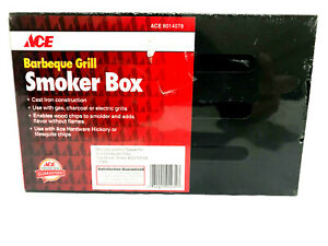 NEW ACE Cast Iron Barbeque Smoker Box Use with Gas, Charcoal or Electric Grills