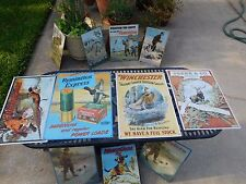 vintage metal tin reproduction signs 16 total Guns, dogs hunting and ammunition