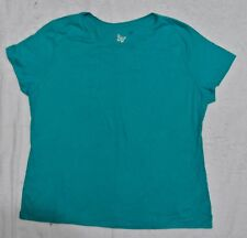JMS Just My Size Plus 100% Cotton Jersey Crew Neck Tee 3X Aqua NEW