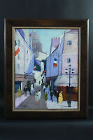 Charles Levier Oil on Canvas PAINTING Signed PARIS MONTMARTRE STREET SCENE