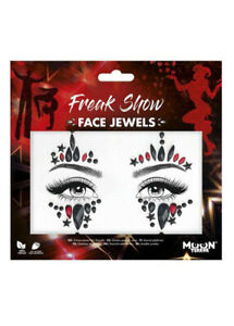 Harley Quinn Style Red and Black Face Jewels Make-Up