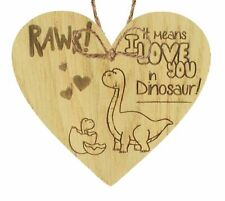 Rawr I Love You Novelty Wooden Hanging Heart Plaque Funny Valentines Day Gift