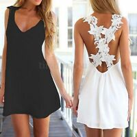 UK 8-24 Summer Womens Chiffon Lace Casual Loose Mini Dress Beach Sundress Top