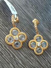 Flower rose Gold color small clear dangle earrings w/crystals comfortable