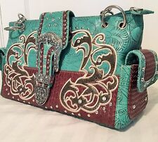 Teal Rhinestone Buckle Concealed Carry Handbag