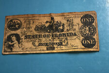 1863 $1 One Dollar Confederate Currency State of Florida Banknote