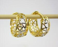 CLASSY HUGGIE HOOP EARRINGS Thai 22K Yellow & 18K White Gold GP Jewelry B-89