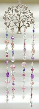 TREE OF LIFE CRYSTAL SUNCATCHER-PINK/LAVENDER/SILVER/CLEAR-HANDCRAFTED # 922