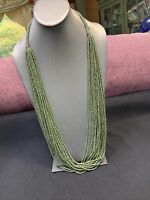 Vintage Multi Strand Army Green Olive Color  Seed Bead Bohemian Necklace 34""