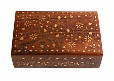 Wooden Trinket Jewelry Box Organizer Anniversary Gift For Women's (Brass Inlay)