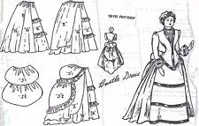 "20""ANTIQUE PARIAN/CHINA HEAD FRENCH FASHION LADY DOLL@1870 BUSTLE DRESS PATTERN"