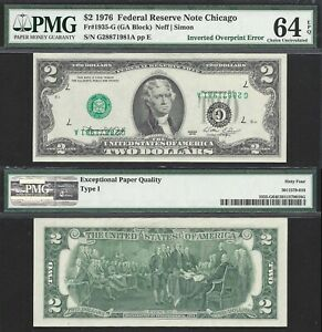 Rare $2 1976 FRN Type I Inverted Overprint PMG Choice Uncirculated 64 EPQ,