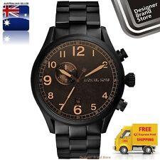 New Michael Kors Mens Watch Hangar Black Plated S/Steel Amber Brown Dial MK7067