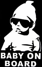 BABY ON BOARD GANGSTER DECAL JDM DRIFT 162MM BY 95MM VINYL STICKER WHITE