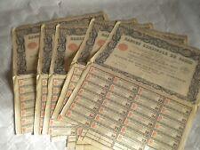 Vintage share certificate Stocks Bonds actions Banque Syndicale de Paris 1929 x5
