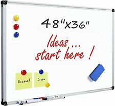 Magnetic Dry Erase Whiteboard 48 X 36 Aluminum Frame Pen Tray Wall Mounted