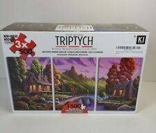 """Triptych Mountain Cabin Scene Jigsaw Puzzle 3 Panel 1500 Pieces New 24"""" X 54"""""""