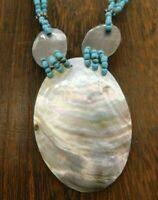 "Vintage Shell Mother Pearl Pendant Aqua Blue Seed Bead Choker Bib 17"" Necklace"