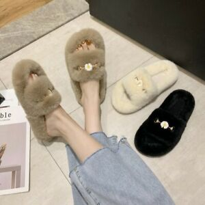 Women Winter House Slippers Faux Fur Warm Soft Lady Home Casual Flat Shoes