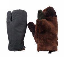 Original soviet army winter mittens gloves three fingers warm sheepskin fur L XL