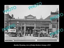 OLD LARGE HISTORIC PHOTO RAWLINS WYOMING, VIEW OF DODGE Bros MOTOR GARAGE c1925