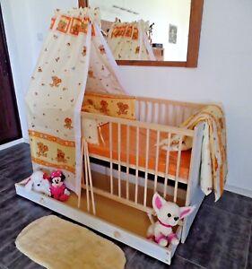 Babybett Gitterbett Kinderbett  Komplett Set 70x140 Schublade 5 Farben Weiß rosa