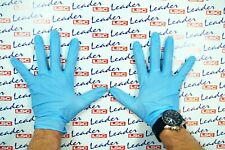 BLUE NITRILE GLOVES - HEAVY DUTY / SUPER STRONG / WATERPROOF WORKSHOP PPE LARGE