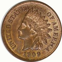 1909 1C Indian Head Cent/Penny Red Brown RB UNC Uncertified Raw US Coin