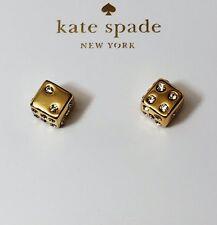NWT Kate Spade New York Lucky Streak Dice Vegas Gold Stud Earrings Authentic