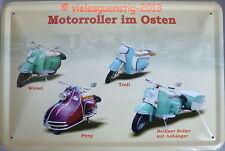 Blechschild 20x30 cm - Motorroller im Osten Wiesel Troll Pitty Berliner Roller