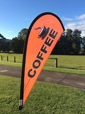 Coffee Advertising Teardrop Flag with pole & ground spike Great for cafes & vans