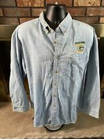 Vintage Green Bay Packers NFL Football Denim Button Shirt Mens XL Super Bowl Vtg