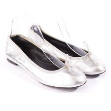 Saint Laurent Bailarinas Talla D 37,5 Plata Mujer Zapatos Pisos Cuero