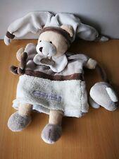 Doudou Ours Doudou et compagnie marionnette beige gris blanc  Graines de doudou