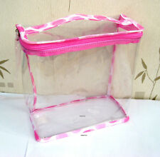 Clinique Large Pale Pink & White Clear Travel Bag New