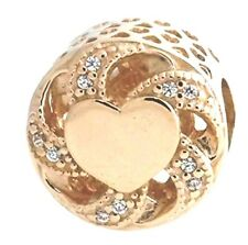 PANDORA Ribbon Heart Charm, 14K Gold & Clear CZ 751004CZ  European Bead