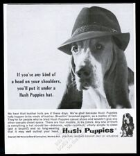 1963 Basset Hound in hat cute photo Hush Puppies shoes vintage print ad