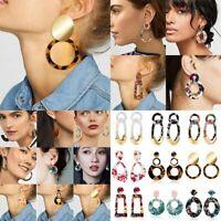 Fashion Acrylic Statement Geometric Earrings Women Ear Hoop Drop Dangle Jewelry